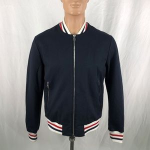 Zara Man Outerwear L Navy Blue Heavy Zipper Jacket